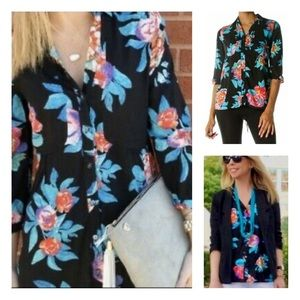 Anthro Maeve Floral Pattern Button Down Blouse 6